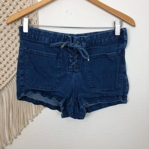 BDG Lace Up Denim Jean Shorts Size 27